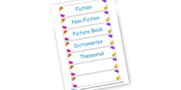 Book Display Labels - Reading Area Primary Resources, signs, area, zones, banner, poster