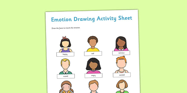 Emotion Drawing Activity Sheet - emotion, drawing, activity, sheet, draw, feelings, worksheet