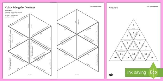 Colour Tarsia Triangular Dominoes - Tarsia, Dominoes, Colour, Spectrum, Eye, Reflection, Refraction. Light, Frequency.