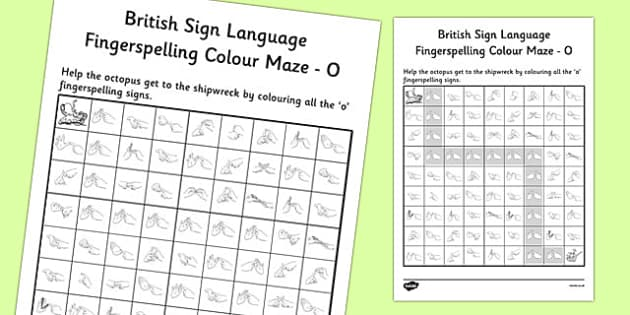 British Sign Language Left Handed Fingerspelling Colour Maze O