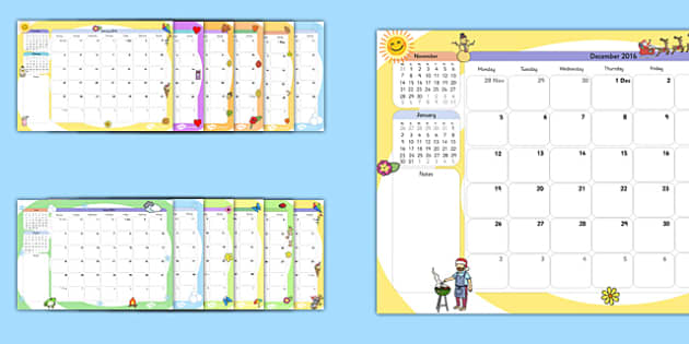 AU 2016 Themed Calendar - australia, 2016, themed, calendar, year, dates, months, weeks