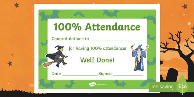 Halloween Themed 100% Attendance Certificate