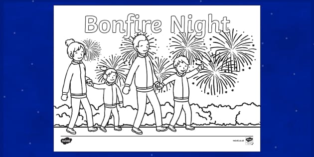 Bonfire Night! Colouring Page