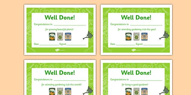 Gardening Club Certificates - gardening club, certificate, reward, award, reward certificates, certificate template, behaviour management, class management