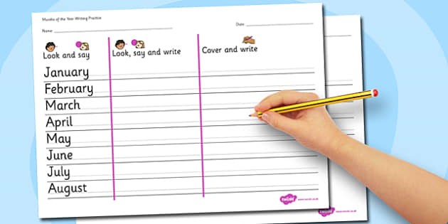 Months of the Year Writing Practice Worksheets - practice, write
