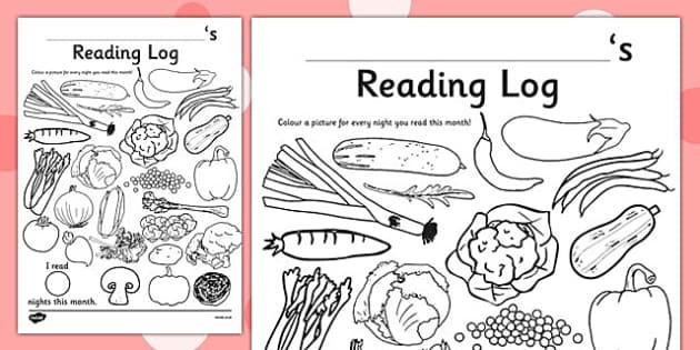 Vegetable Themed Colour In Reading Log - food, veg, read, reading record, harvest