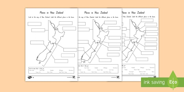 Labelling New Zealand Differentiated Activity Sheets - New Zealand Geography, maps