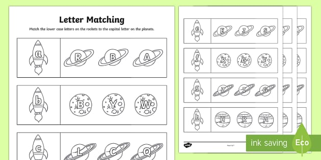 Space Themed Capital Letter Matching Worksheet - uppercase, a-z