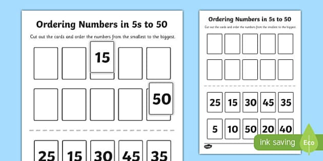 Ordering Numbers in 5s to 50 Activity