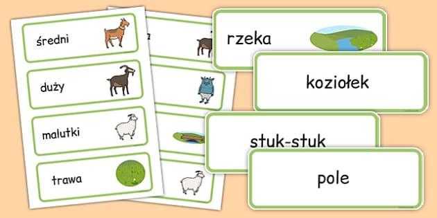 Karty ze słownicrwem Trzy koziołki po polsku - baśnie, bajki