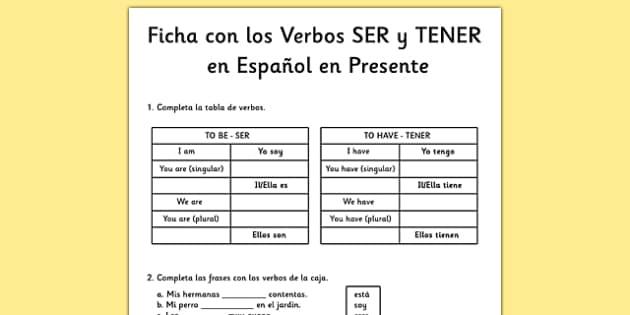Ficha de los verbos to be y to have en inglés en presente - to be, to have, inglés, verbos, presente