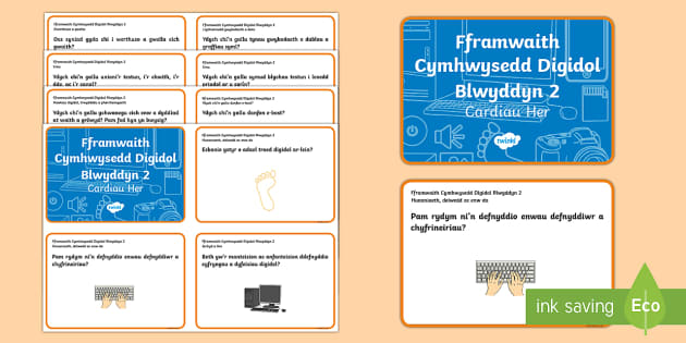 Fframwaith Cymhwysedd Digidol Blwyddyn 2 Cardiau Her - Fframwaith Cymhwysedd Digidol Blwyddyn 2, Fframwaith  Digidol, Blwyddyn 2, Cardiau Her, Welsh