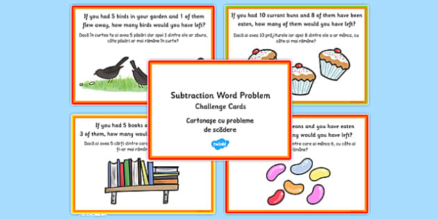 KS1 Subtraction Word Problem Challenge Cards Romanian Translation - romanian, challenge cards, ks1, subtraction, word problem