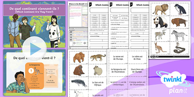 PlanIt - French Year 4 - Where in the World? Lesson Pack Lesson 6: Which Continent Are They From?  - french, languages, grammar, pronoun, animals, continent