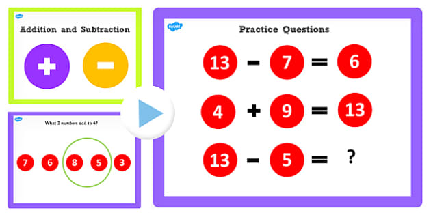 Addition and Subtraction Facts to 13 PowerPoint - add, subtract