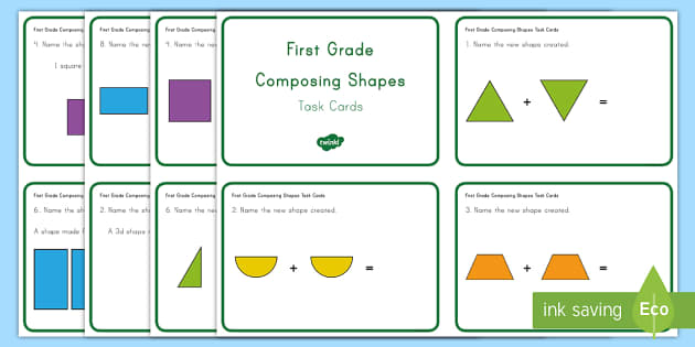 First Grade Composing Shapes Task Cards - Common Core, First Grade, Math, Task Cards