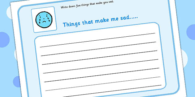 5 Things That Make You Sad Writing Frame - feelings, emotions, SEN