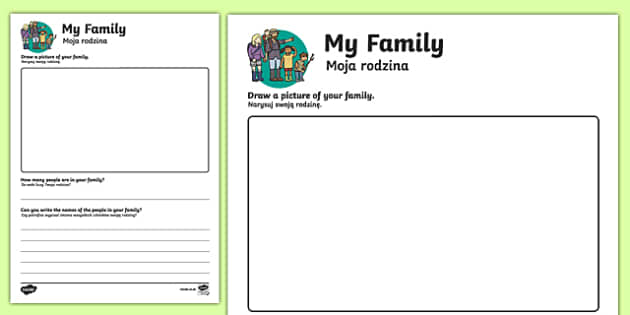 All about my Family Activity Sheet Polish-English Translation, worksheet