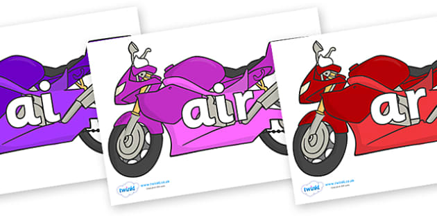 Phase 3 Phonemes on Motorbikes - Phonemes, phoneme, Phase 3, Phase three, Foundation, Literacy, Letters and Sounds, DfES, display