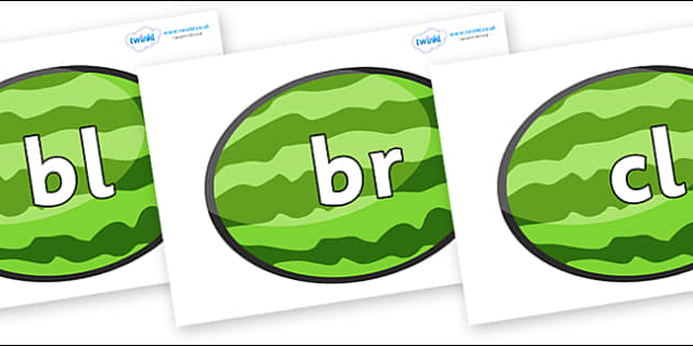 Initial Letter Blends on Melons (Horizontal) - Initial Letters, initial letter, letter blend, letter blends, consonant, consonants, digraph, trigraph, literacy, alphabet, letters, foundation stage literacy