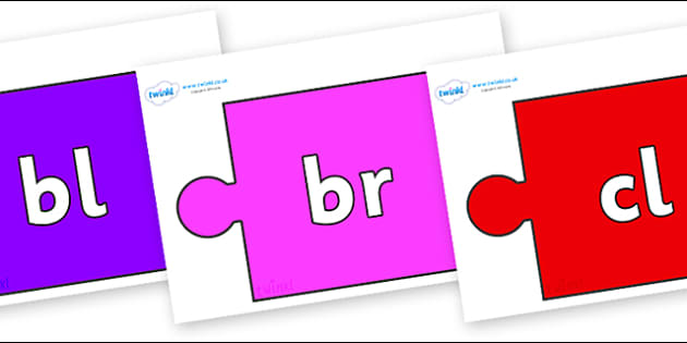Initial Letter Blends on Jigsaw Pieces - Initial Letters, initial letter, letter blend, letter blends, consonant, consonants, digraph, trigraph, literacy, alphabet, letters, foundation stage literacy