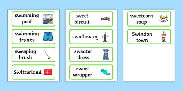 Three Syllable 'SW' Word Cards - sw sound, syllable, word cards