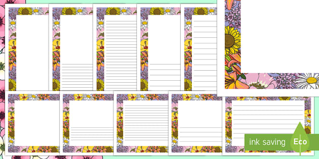Flower Page Border - writing frame, writing aid, writing template