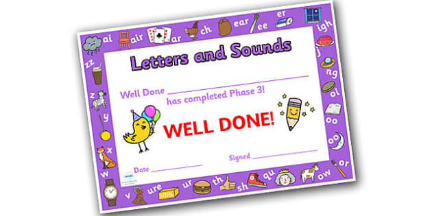 Letters and Sounds Award Certificates Phase 3 - Letters And Sounds, Phase 3, Letters Certificate, Sounds Cerificate, Phase 3 Certificate