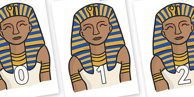 Numbers 0-50 on Pharaoh - 0-50, foundation stage numeracy, Number recognition, Number flashcards, counting, number frieze, Display numbers, number posters