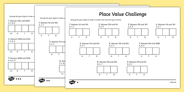 Place Value Challenge Activity Sheet place value place value – Place Value Worksheet