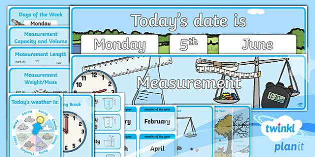 PlanIt Y1 Measurement Display Pack - Display, classroom, measurement, length, height, capacity, volume, weight, mass, time, money, sequen