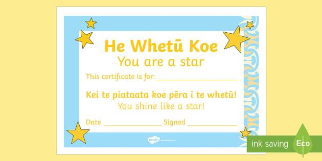 Celebrating the Child Hewhetū koe Certificates Te Reo Maori/English - Whakanui,celebrate, tamaiti, child, whetū, star, certificates, maori whakatauki