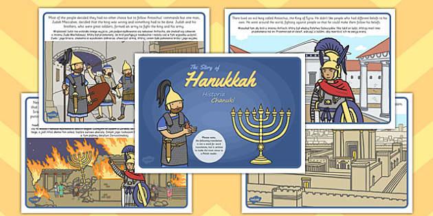 The Story of Hanukkah Polish Translation - Polish, Judaism, Jewish Festival, menora, light