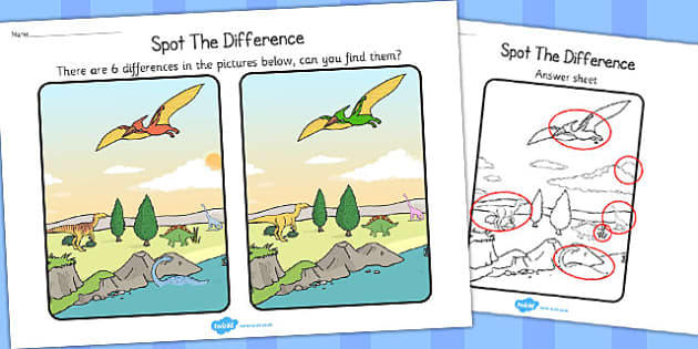 Dinosaurs Spot the Difference Activity - dinosaur, activity, game