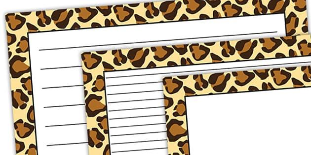 Leopard Pattern Landscape Page Border - safari, safari page borders, leopard page borders, leopard pattern page borders, safari animal pattern page borders