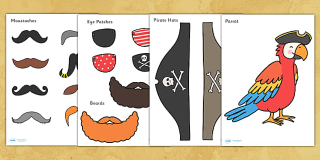 Pirate Role Play Cut Out Props - pirates, pirate role play, pirate role play props, pirate cut out props, role play, eye patches, cut out beards, moustache