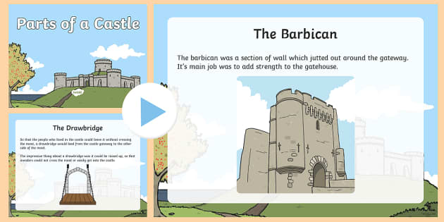 Parts of a Castle PowerPoint - castle, label, parts of a castle, KS1, Year 1, Year 2, use, defence, protect.