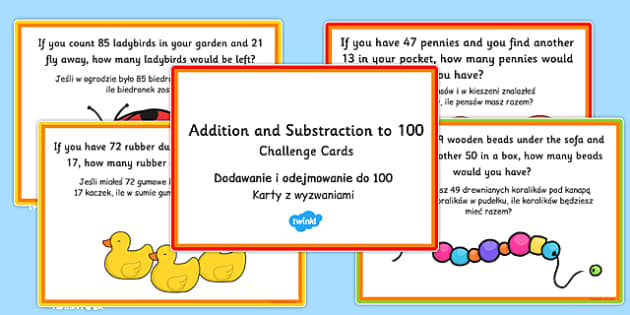 Addition and Subtraction to 100 Word Problem Challenge Cards Polish Translation - polish, addition, subtraction, word problem