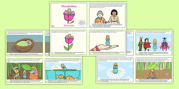 Thumbelina Story Cards Polish Translation - polish, thumbelina, story, cards