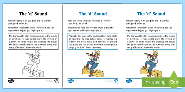 Northern Ireland Linguistic Phonics Stage 5 and 6 Phase 3a, 'd' Sound Activity Sheet - Linguistic Phonics, Phase 3a, Northern Ireland, 'd' sound, sound search, text, Worksheet