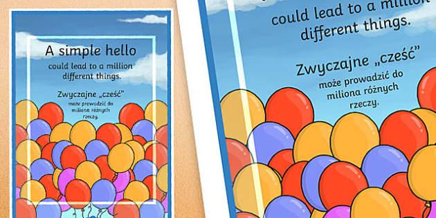 A Simple Hello Motivational Poster Polish Translation - polish, motivational, poster, hello