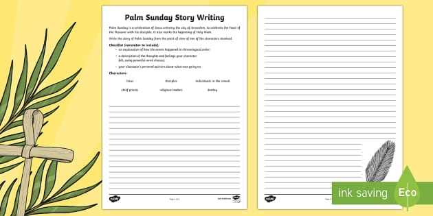KS2 Palm Sunday Character Story Writing Activity Sheet - KS2
