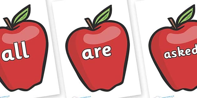 Tricky Words on Red Apples - Tricky words, DfES Letters and Sounds, Letters and sounds, display, words