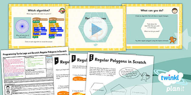 PlanIt - Computing Year 3 - Programming Turtle Logo and Scratch Lesson 5: Regular Polygons In Scratch Lesson Pack