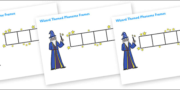 Wizard Phoneme Frames - Phoneme Frames printable, wizard, witch, phoneme frame, phoneme, phonemes, Segmenting, DfES Letters and Sounds, Letters and sounds, KS1 Literacy, Phase one, Phase 1, Phase two, Phase 2, Phase three, Phase 3