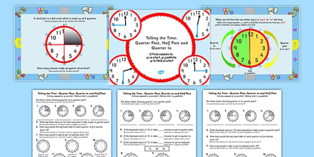 Telling the Time: Quarter Past, Half Past, Quarter to Task Setter PowerPoint and Worksheets Romanian Translation - romanian, telling the time, minutes, task setter, powerpoint, worksheets