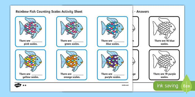 Scales Counting Worksheet to Support Teaching on The Rainbow Fish - the rainbow fish, counting worksheet, the rainbow fish counting worksheet, counting worksheet