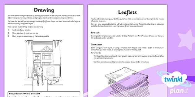 PlanIt - Computing Year 3 - Drawing and Desktop Publishing Unit Home Learning Tasks - planit, computing, year 3, drawing and desktop publishing, home learning tasks