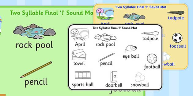 Two Syllable Final 'L' Sound Word Mat - l sound, word mat, two