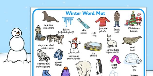 Winter Word Mat EAL Romanian Translation - romanian, winter